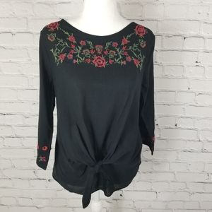 Zara embroidered keyhole back front tie top
